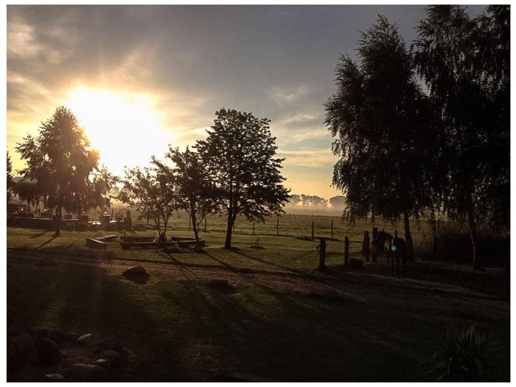 Lagerfeuerplatz und Wellness-Bereich der MQ Ranch bei Sonnenaufgang